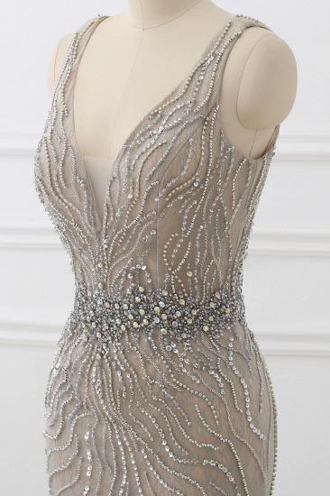 BMbridal Elegant Strap V-Neck Sleeveless Mermaid Prom Dresses with Beadings Ruffles_6