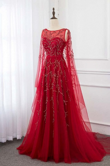 BMbridal Gorgeous Tulle Jewel Ruffle Burgundy Prom Dresses with Beadings Online_4
