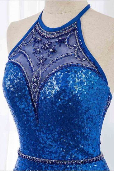 Sparkly Sequined Halter Sleeveless Royal Blue Prom Dresses with Beadings_5