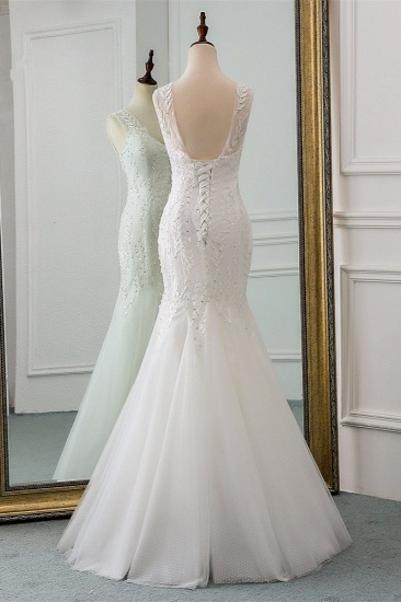 Affordable V-Neck Appliques Mermaid Wedding Dresses with Beadings Online_3