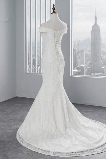 Elegant Lace Off-the-Shoulder White Mermaid Wedding Dresses Cheap Online_4