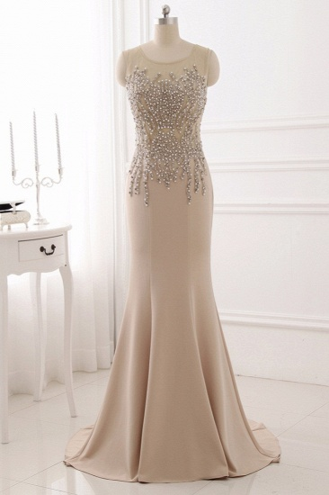 Elegant Jewel Sleeveless Mermaid Prom Dresses with Pearls Online