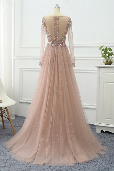 Elegant V-Neck Long Sleeves Appliques Beadings Prom Dresses with Overskirt_8