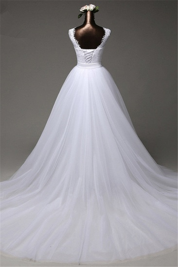 BMbridal Chic Tulle Lace Jewel Mermaid Wedding Dresses with Overskirt Online_3