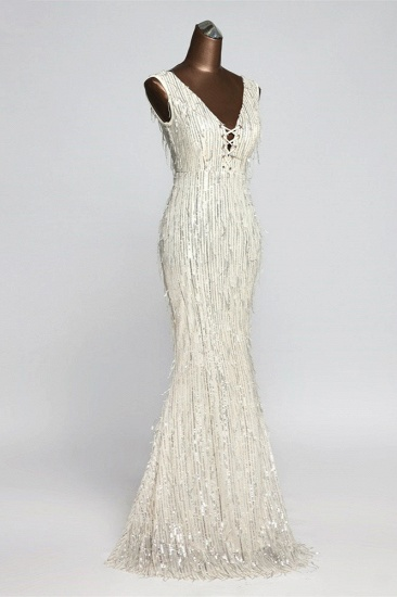 BMbridal Stylish V-Neck Sequined Mermaid Prom Dresses with Strings Online_7