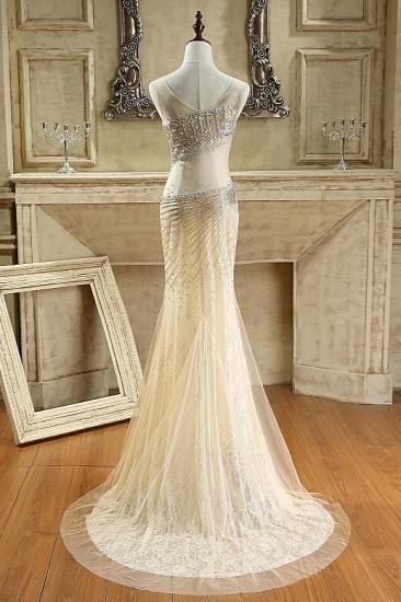 BMbridal Glamorous Tulle V-Neck Sleeveless Mermaid Prom Dresses with Beadings_3
