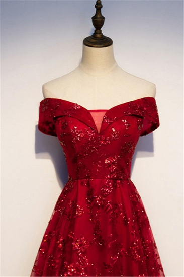 Gorgeous Off-the-Shoulder Sleeveless Burgundy Prom Dresses with Appliques_5