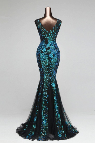 Luxury Tulle V-Neck Sleeveless Mermaid Prom Dress with Sequins_5