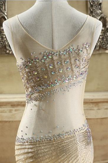 BMbridal Glamorous Tulle V-Neck Sleeveless Mermaid Prom Dresses with Beadings_7