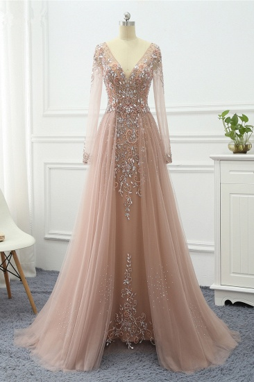 Elegant V-Neck Long Sleeves Appliques Beadings Prom Dresses with Overskirt_1