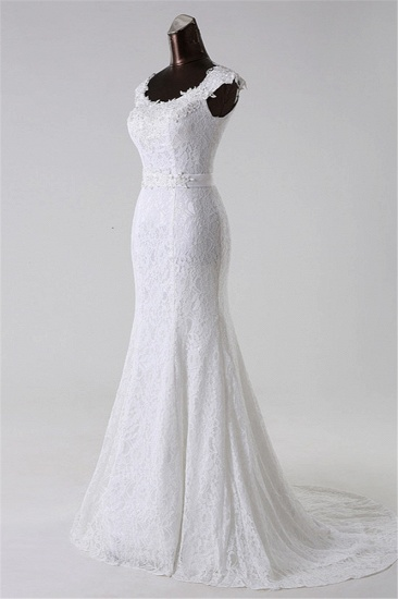 BMbridal Gorgeous Lace Jewel Mermaid White Wedding Dresses with Appliques Online_4