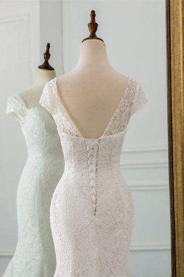BMbridal Elegant Lace Cap-Sleeves Sweetheart Mermaid Wedding Dresses Online_7