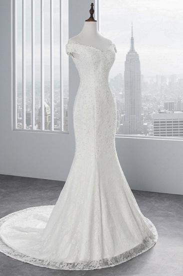 Elegant Lace Off-the-Shoulder White Mermaid Wedding Dresses Cheap Online_5