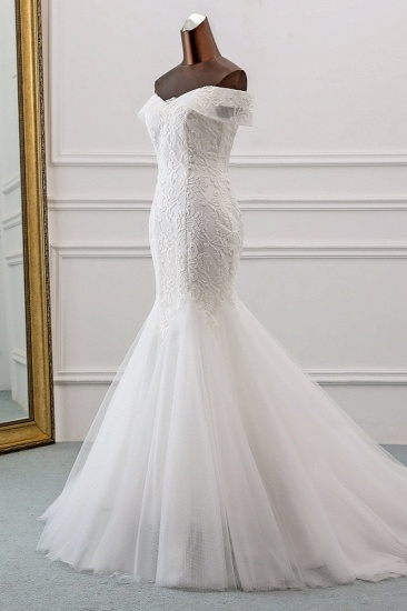 Glamorous Tulle Lace Off-the-Shoulder White Mermaid Wedding Dresses Online_4