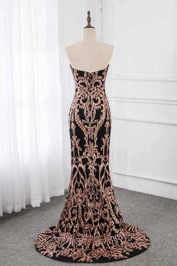 Glamorous Strapless Sleeveless Prom Dress with Glod Appliques Online_3