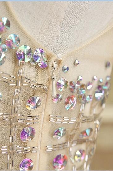 BMbridal Glamorous Tulle V-Neck Sleeveless Mermaid Prom Dresses with Beadings_6