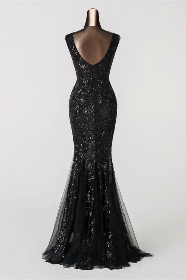 Luxury Tulle V-Neck Sleeveless Mermaid Prom Dress with Sequins_13