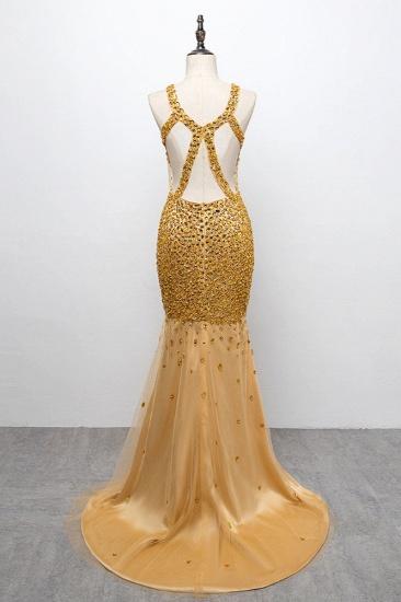 BMbridal Glamorous Straps V-Neck Gold Mermaid Prom Dresses with Beadings Online_3