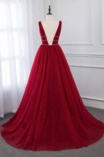 BMbridal Sexy Deep-V-Neck Sleeveless Burgundy Prom Dresses with Beadings_3