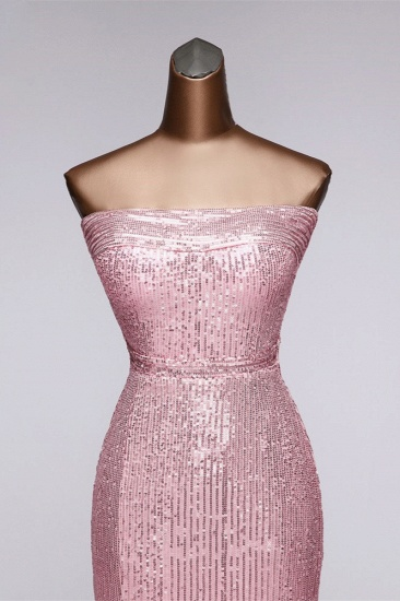 Chic Strapless Front Slit Sheath Prom Dresses with Sequins Online_5