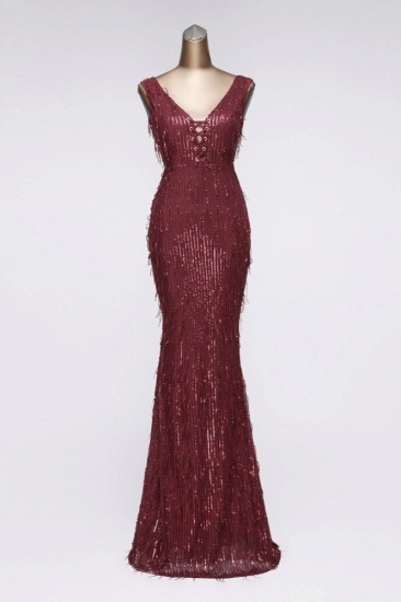 BMbridal Stylish V-Neck Sequined Mermaid Prom Dresses with Strings Online_2