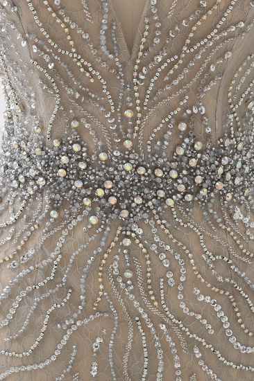 BMbridal Elegant Strap V-Neck Sleeveless Mermaid Prom Dresses with Beadings Ruffles_7