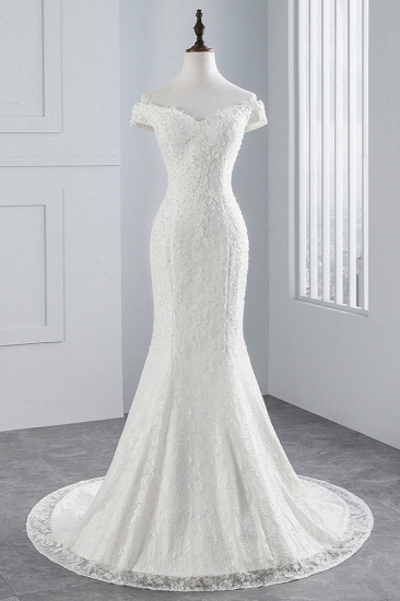 Elegant Lace Off-the-Shoulder White Mermaid Wedding Dresses Cheap Online