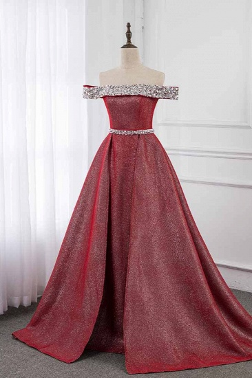 Gorgeous Off-the-Shoulder Beading Burgundy Prom Dress with Sash_4