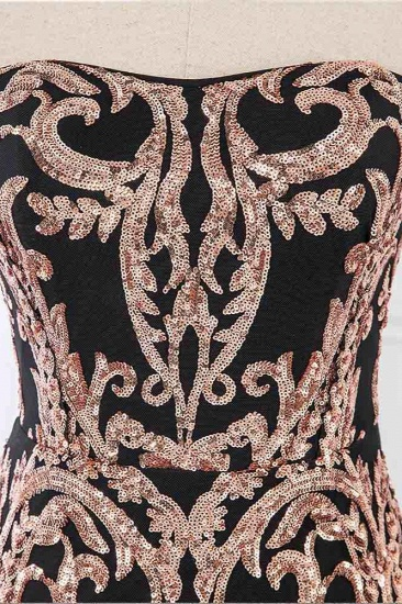Glamorous Strapless Sleeveless Prom Dress with Glod Appliques Online_5