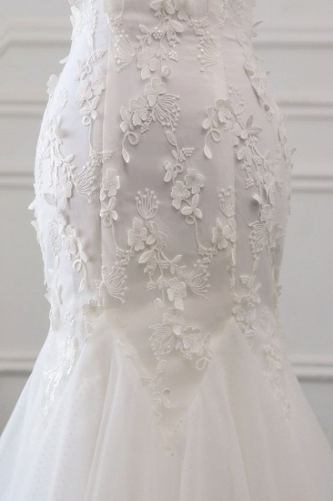 BMbridal Gorgeous Tulle Sweetheart Long Mermaid Wedding Dresses with Lace Online_7