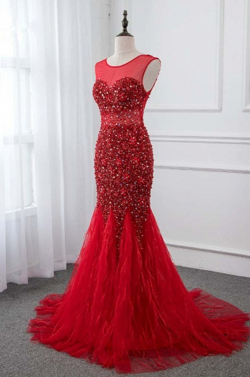 Glamorous Jewel Sleeveless Burgundy Mermaid Prom Dresses with Beadings_4