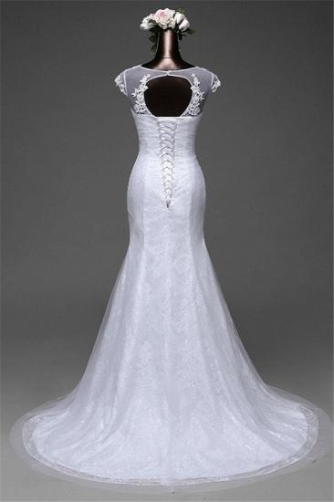 Glamorous Lace Jewel White Mermaid Wedding Dresses with Beadings Online_3