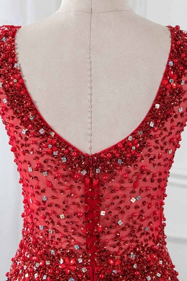 BMbridal Glamorous Jewel Sleeveless Burgundy Mermaid Prom Dresses with Beadings_6