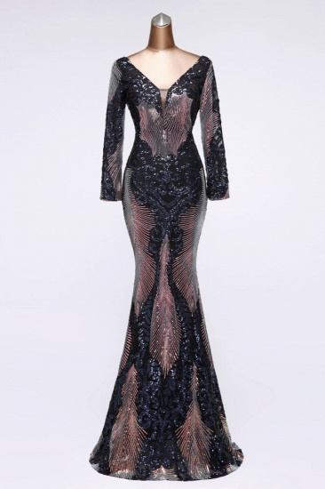 Sparkly Sequined V-Neck Mermaid Long Prom Dresses with Long Sleeves Online_3