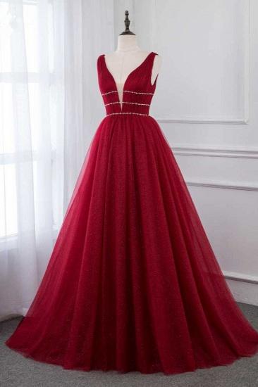 BMbridal Sexy Deep-V-Neck Sleeveless Burgundy Prom Dresses with Beadings_4