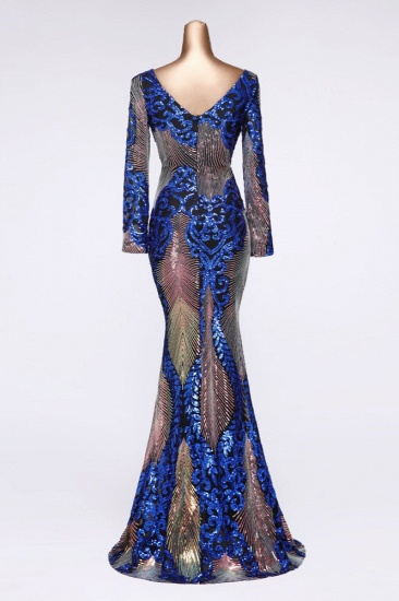 Sparkly Sequined V-Neck Mermaid Long Prom Dresses with Long Sleeves Online_6