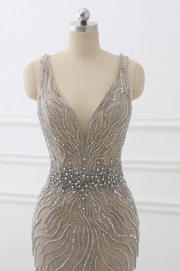BMbridal Elegant Strap V-Neck Sleeveless Mermaid Prom Dresses with Beadings Ruffles_5