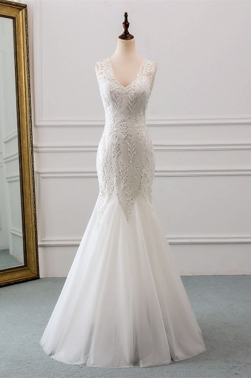 Affordable V-Neck Appliques Mermaid Wedding Dresses with Beadings Online_1