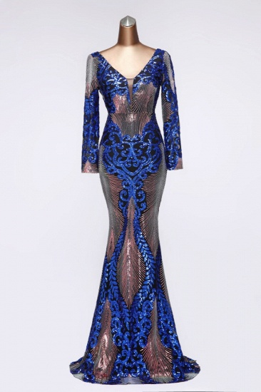 Sparkly Sequined V-Neck Mermaid Long Prom Dresses with Long Sleeves Online