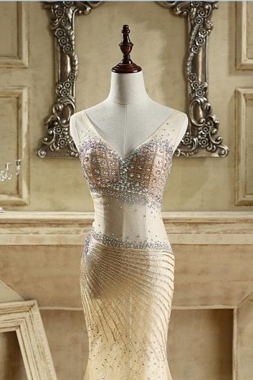 BMbridal Glamorous Tulle V-Neck Sleeveless Mermaid Prom Dresses with Beadings_4