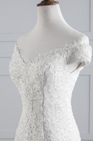 BMbridal Elegant Lace Off-the-Shoulder White Mermaid Wedding Dresses Affordable Online_6
