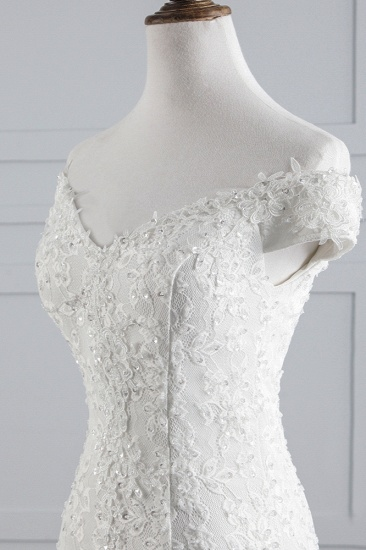 Elegant Lace Off-the-Shoulder White Mermaid Wedding Dresses Cheap Online_6