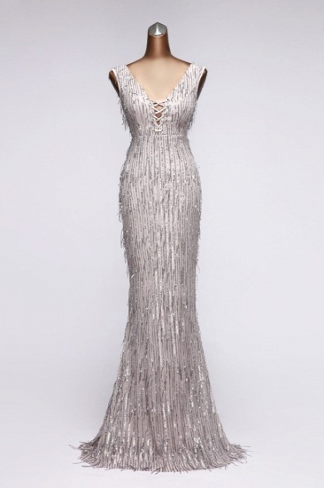 BMbridal Stylish V-Neck Sequined Mermaid Prom Dresses with Strings Online_4