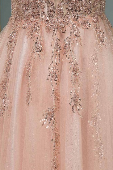 Elegant Tulle Spaghetti Strap V-Neck Pink Prom Dress with Beading Appliques_7