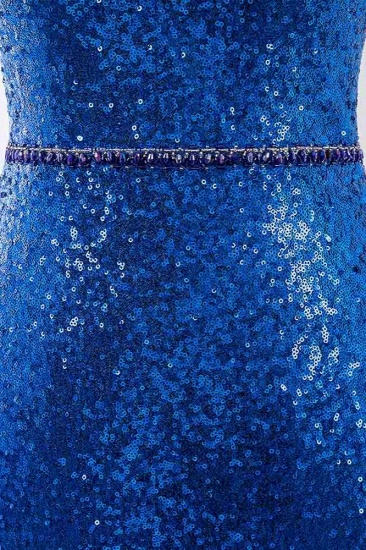 Sparkly Sequined Halter Sleeveless Royal Blue Prom Dresses with Beadings_6