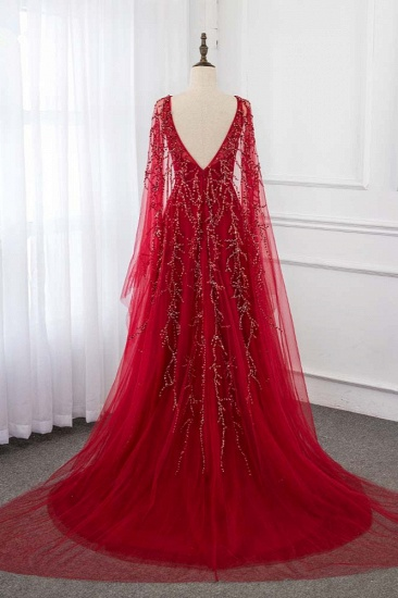 BMbridal Gorgeous Tulle Jewel Ruffle Burgundy Prom Dresses with Beadings Online_3