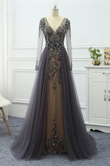 Elegant V-Neck Long Sleeves Appliques Beadings Prom Dresses with Overskirt_4