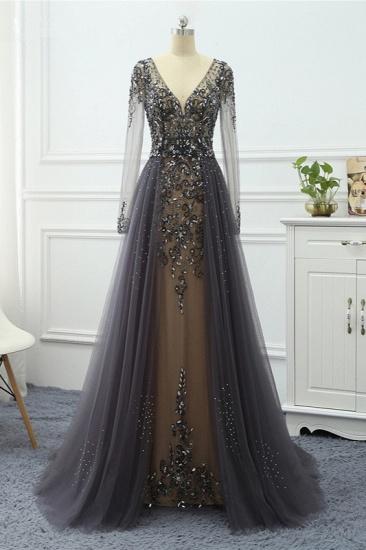 BMbridal Elegant V-Neck Long Sleeves Appliques Beadings Prom Dresses with Overskirt_4