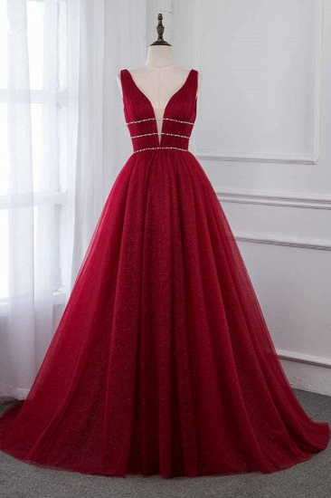 Sexy Deep-V-Neck Sleeveless Burgundy Prom Dresses with Beadings