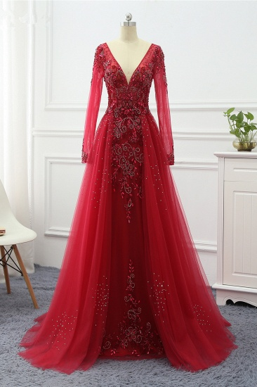 Elegant V-Neck Long Sleeves Appliques Beadings Prom Dresses with Overskirt_2